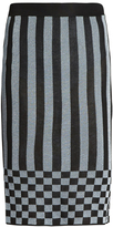 House of Holland Striped-knit pencil skirt