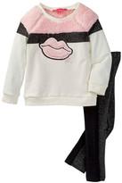 Betsey Johnson Faux Fur Colorblock Lip Top & Legging Set (Little Girls)