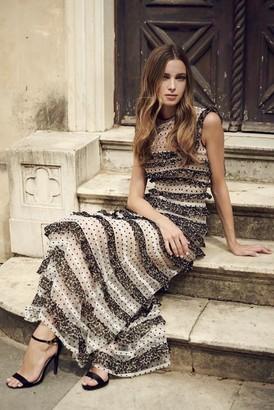 Costarellos Ingrid Dot Tulle Printed Chiffon Frill Dress