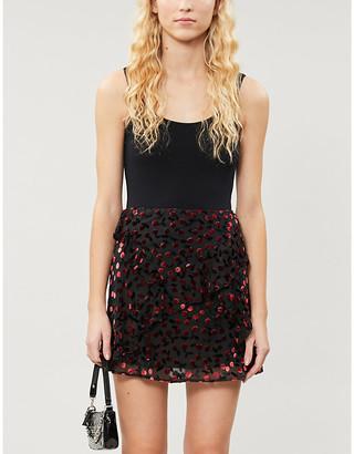 The Kooples Embellished woven mini skirt