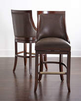 Horchow Logan Leather Swivel Counter Stool
