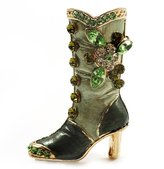 Avalaya Olive Green Enamel Crystal High Boot Pin Brooch (Gold Tone Metal)