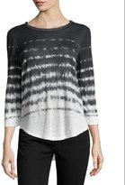 Rebecca Taylor Linen Tie-Dye Stripe Top, Black/Cream