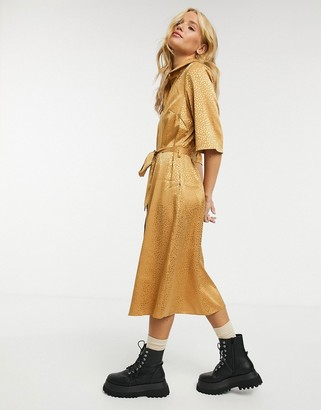 Closet London wrap tie midi shirt dress with cropped sleeve in rust