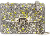 Valentino Garavani Demilune Small Embellished Suede And Leather Shoulder Bag - Silver