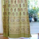 Saffron Marigold – Memories of Shalimar – Green, Blue, and Brown Floral Oriental Inspired Hand Printed – Elegant Romantic Sheer Cotton Voile Curtain Panel – Tab Top or Rod Pocket – (46 x 84)
