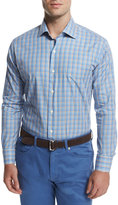 Peter Millar Multi-Check Long-Sleeve Sport Shirt, Navy