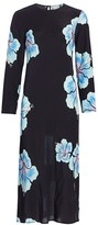 Rixo Amanda Abstract Hawaiian Floral Midi Dress
