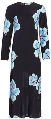 Rixo Amanda Abstract Hawaiian Floral Midi Dress