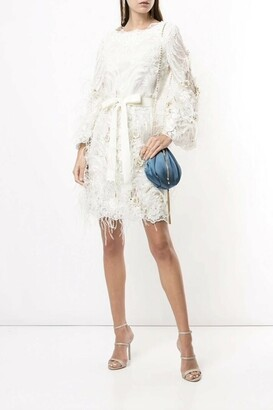 Marchesa Long Sleeve Feathered Dress