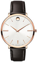 Movado Ultra Slim Leather-Strap Watch