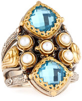 Konstantino Amphitrite Double Cushion Topaz & Pearl Statement Ring, Size 7