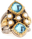 konstantino amphitrite double cushion topaz pearl statement ring size 7