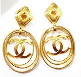 Chanel Vintage 18K Gold Plated Multi Hoop CC Clip On Earrings