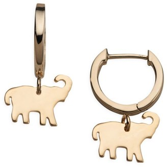 Jennifer Zeuner Jewelry Erin 14K Goldplated Sterling Silver Elephant Charm Huggie Earrings