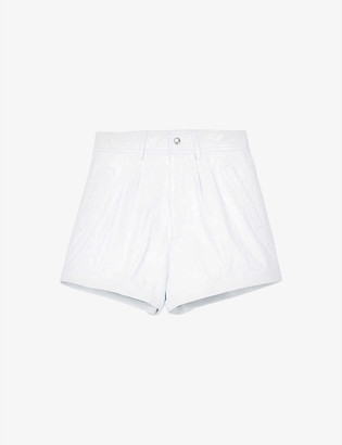 The Kooples Patent high-rise leather shorts