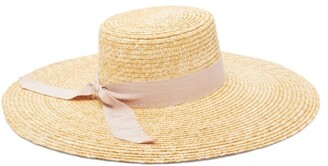 Avenue The Label - Dolce Grosgrain-trim Straw Hat - Womens - Pink
