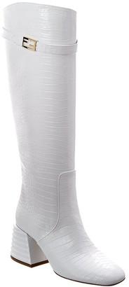 Fendi Promenade Croc-Embossed Leather Knee High Boot