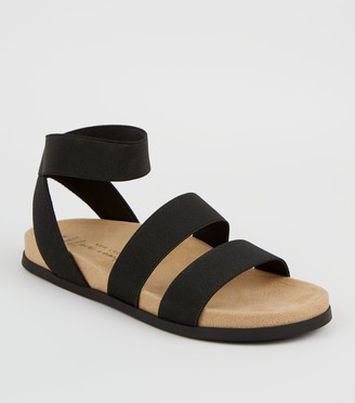 New Look Wide Fit Elastic Strap Footbed Sandals