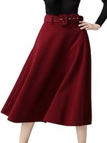 MFrannie Women Stylish Retro A Line Suede Pleated Long Skirt with Belt -M