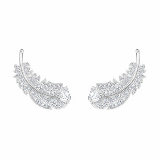 Swarovski Women's Nice Stud Pierced Earrings Set of Brilliant White Crystal Feather Earrings with Rhodium Plating