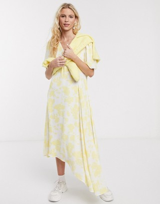 Notes Du Nord orchid recycled polyester floral asymmetric midi dress in lemon flower