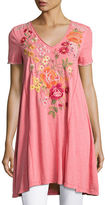 Johnny Was Karlotta Embroidered Drape Tunic-Length Tee