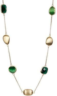 Rivka Friedman Eye Green & Dark Green Crystal Pebble Faceted Satin Necklace