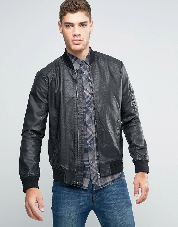Wrangler Faux Leather Perforated Bomber Jacket