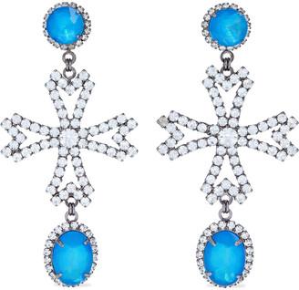 Elizabeth Cole Cynthia Hematite-plated Crystal Earrings