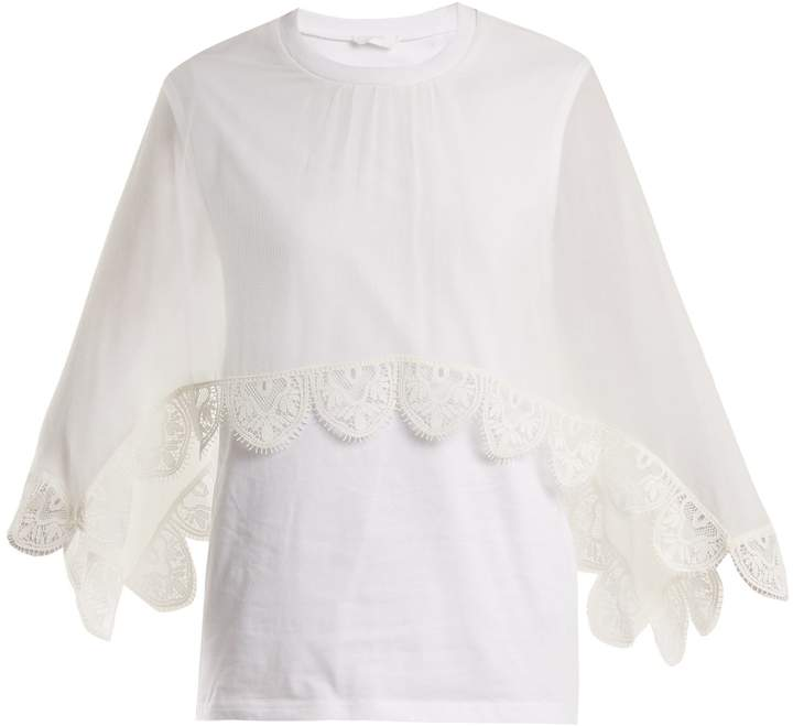 Chloé Round-neck lace-trimmed cotton-jersey top