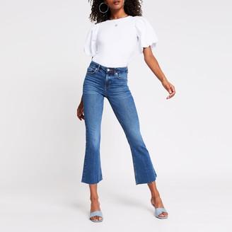 River Island Womens Blue denim mid rise kick flare jeans