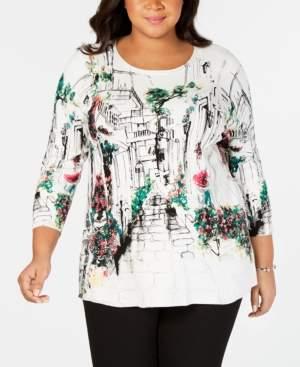Joseph A Plus Size Rue de Seine Printed Sweater