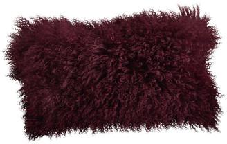 """Saro Lifestyle Mongolian Lamb Fur Poly Filled Throw Pillow, Eggplant, 12""""x20"""""""