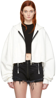 Unravel White Chopped Zip-Up Hoodie