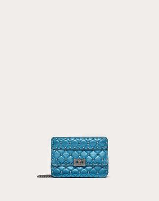 Valentino Small Metallic Rockstud Spike Bag Women Azure Lambskin 100% OneSize