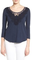 Lucky Brand Women's Lace Inset Tee