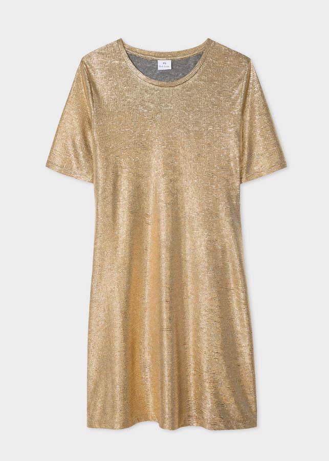 Paul Smith Women's Gold-Foil Textured T-Shirt Dress