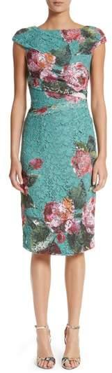 Monique Lhuillier Rose Print Guipure Sheath Dress