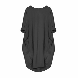 Toamen Women's Dress Toamen Womens Loose Dress Sale Ladies Casual Long Sleeve Solid Pocket Tops Dress Plus Size (Black 14)