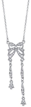 "Downton Abbey Silver-Tone Crystal Edwardian Statement Bow Necklace 16"" Adjustable"