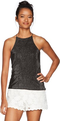Derek Heart Women's Cut in Shoulder Crystal Pleat Knit Hi-Low Tank Top