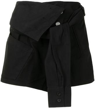 RtA Asymmetric Tied-Shirt Shorts