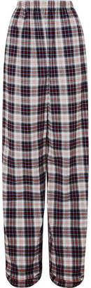 Balenciaga Tartan Cotton-flannel Wide-leg Pants - Black