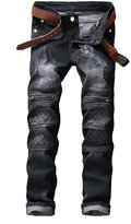 TMBSE Men's Slim Fit Funky Denim Biker Jeans