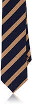 Alexander Olch MEN'S STRIPED COTTON JERSEY NECKTIE-NAVY, TAN, NO COLOR