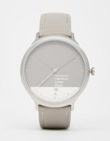 Mondaine Helvetica Grey Leather Strap Watch - Grey