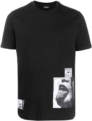 Diesel appliqué digital print T-shirt