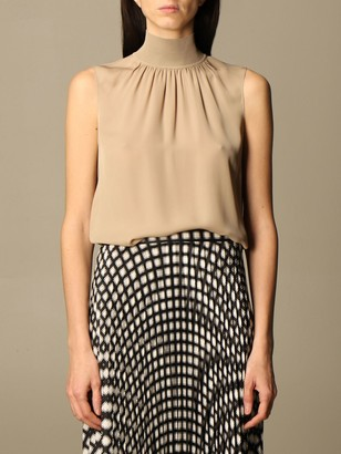 Theory Top In Silk With Stretch Collar