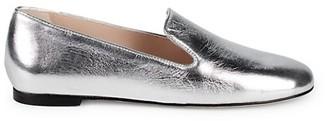 Stuart Weitzman Myguy Metallic Leather Venetian Loafers